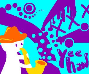 Cowboy playing the saxophone