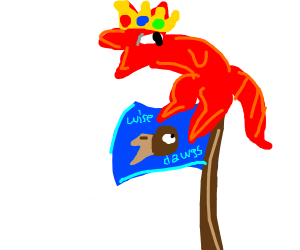 Crowned dragon standing on the Ravenclaw flag