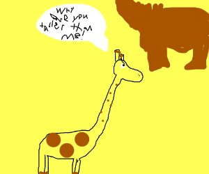 Giraffe mad at flying horse for being taller