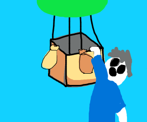man hanging off the side of a hot air ballon