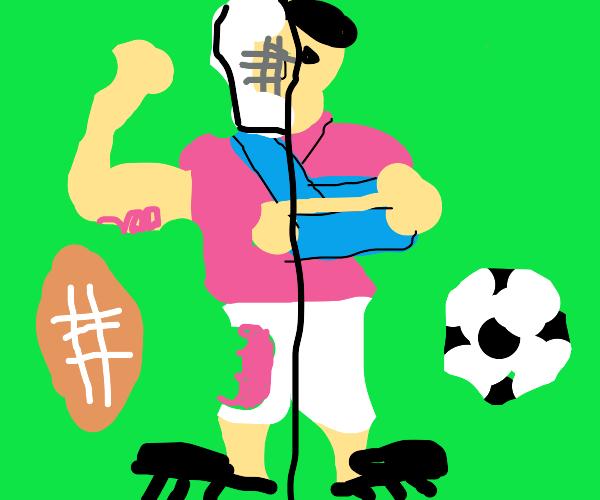 Pink footballer with broken arm