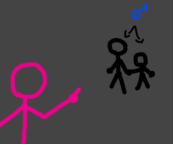 pink guy pointing at guy and his kid