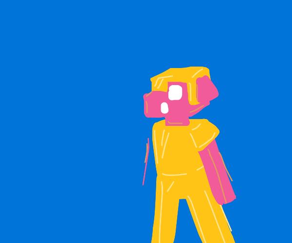 Pigman in golden armor.  Minecraft aesthetic.