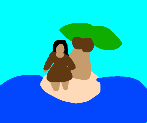 person on an island