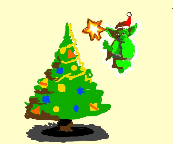 Yoda decorating for Christmas