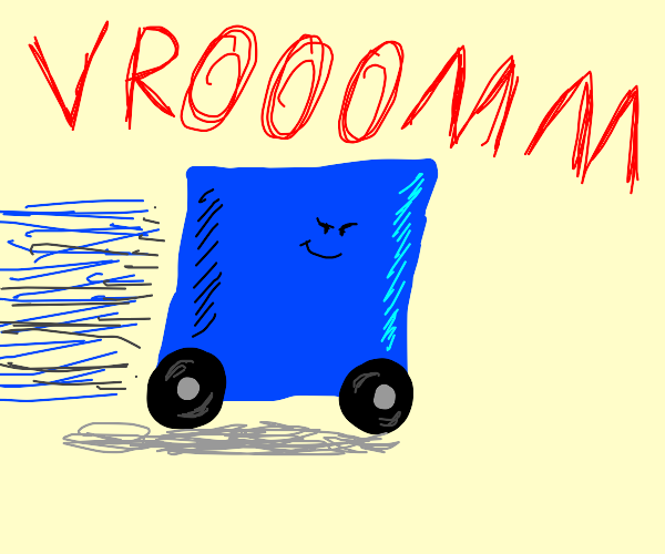 blue square on wheels goes vroom