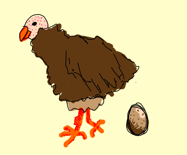 Brown chicken with featherless head