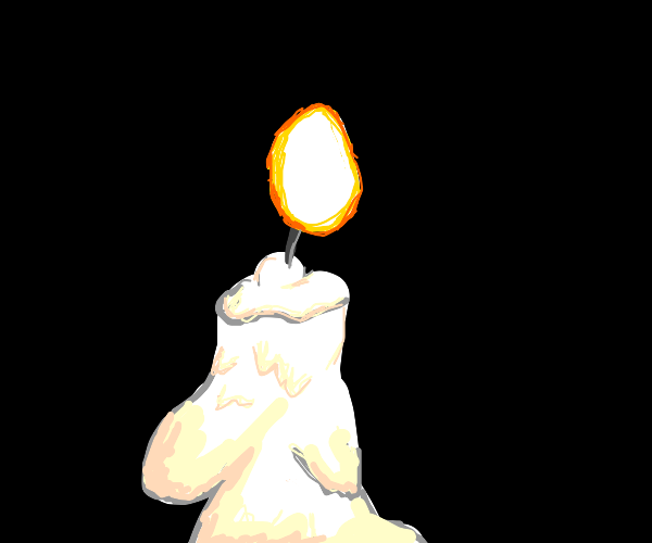 A candle burns in darkness