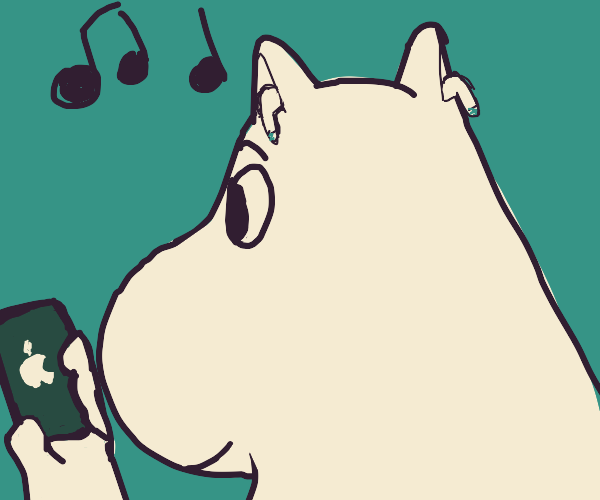 moomin with airpods