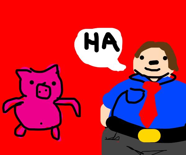 Fat man calls pig a loser
