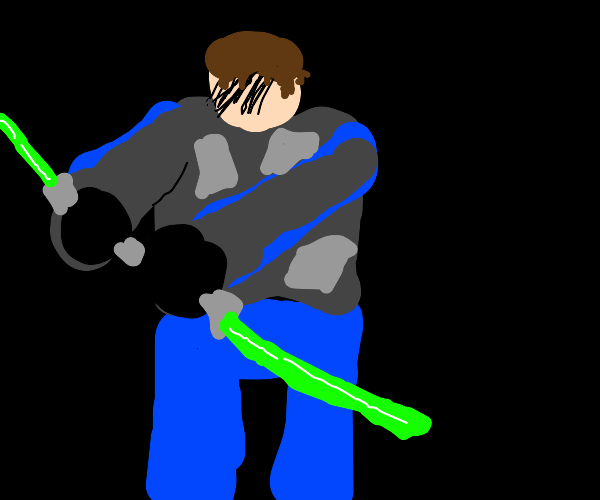 Mando but no mask and he holds lightsaber