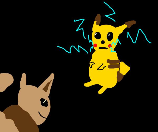 pikachu vs eevee!!!