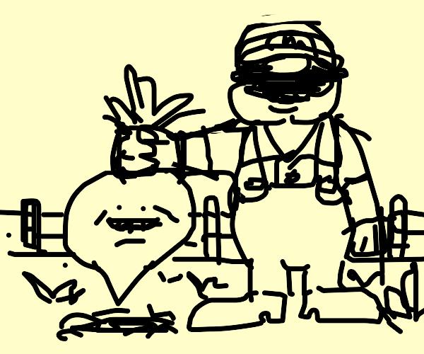 Mario picks a living turnip