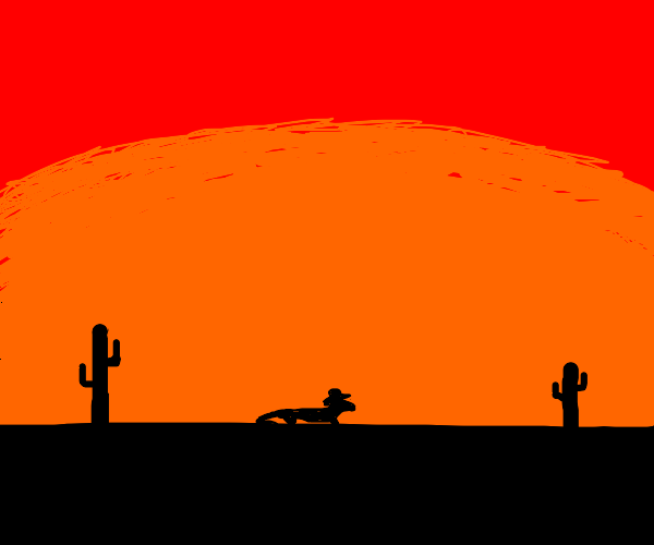 Lizard cowboy enjoys the sunset