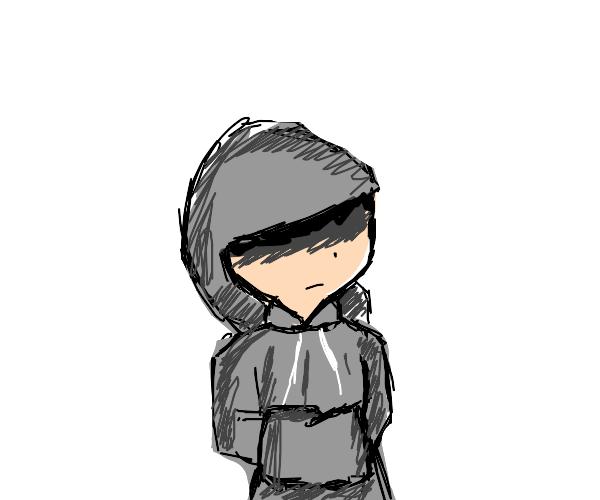 A guy in a hoodie has no eyes/Iris