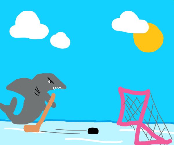 Shark plays hockey