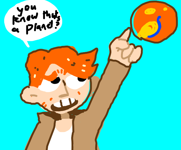 Ginger in detective outfit points out planet