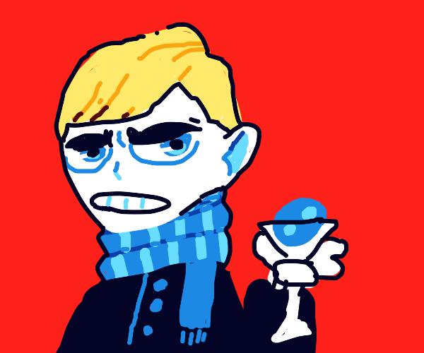 Malfoy wears blu scarf, lays egg in a martini