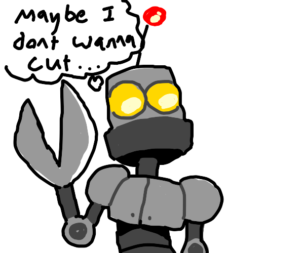 Chop-bot realizes his true purpose in life