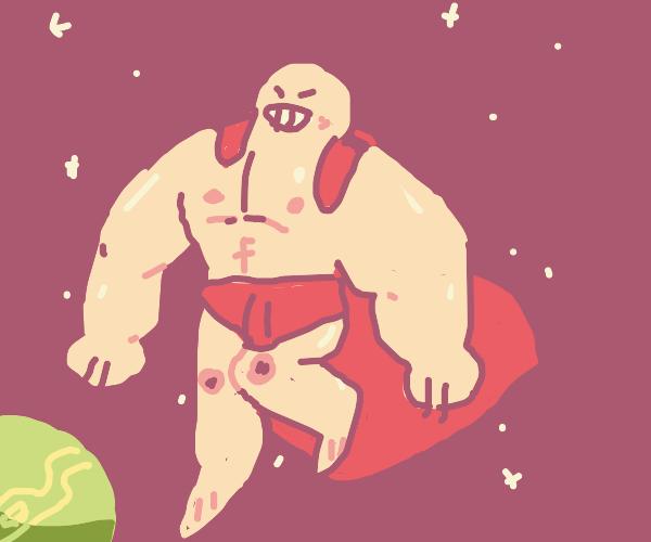Superhero flying through space