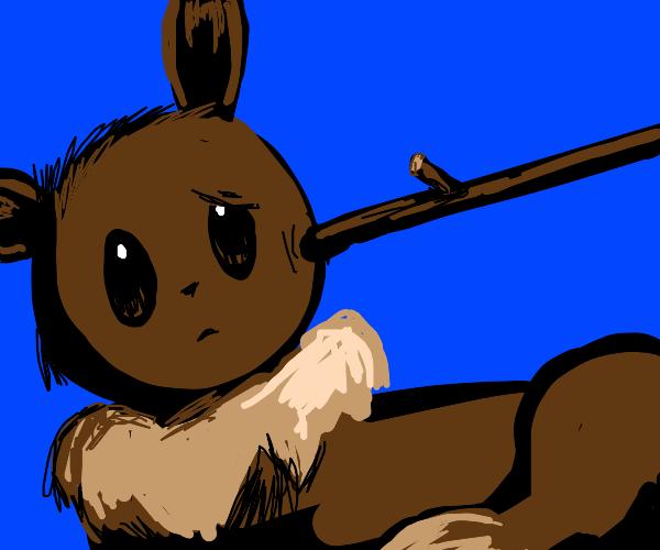 Eevee being prodded