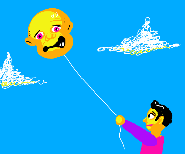 person flying a kite, but the kite is a head