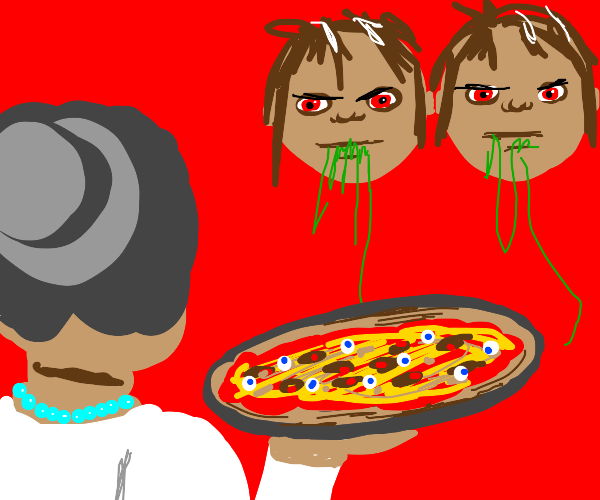 mom give piza to bodiless twins eating string