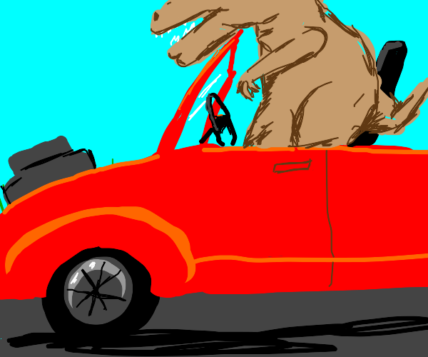 T Rex cant drive car, arms too smol