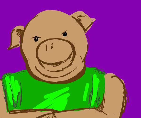 smug pig guy