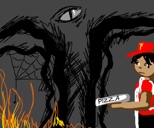 pizza man delivering pizza in hell