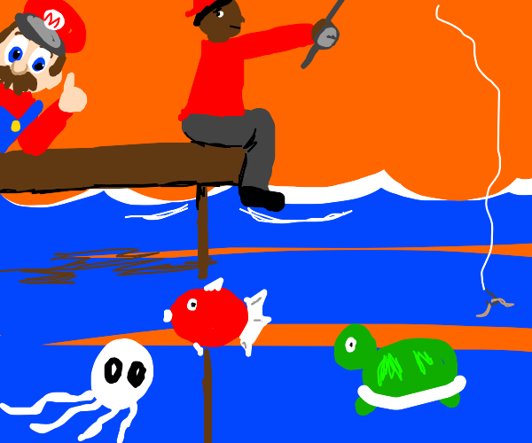 guy is happy that  mario is fishing