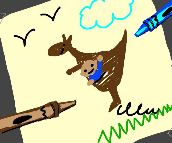 A guy in a kangaroo drawing