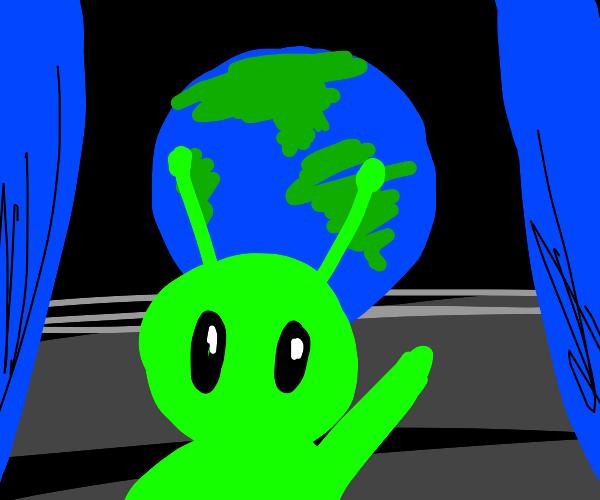 Alien on blue planet showww