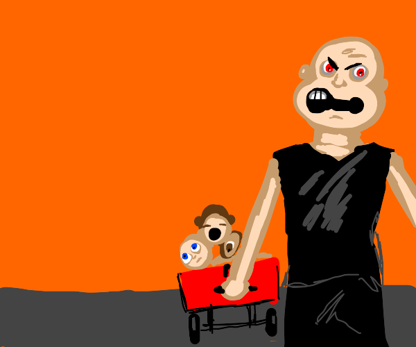 Angry man wheels baby heads in a wagon