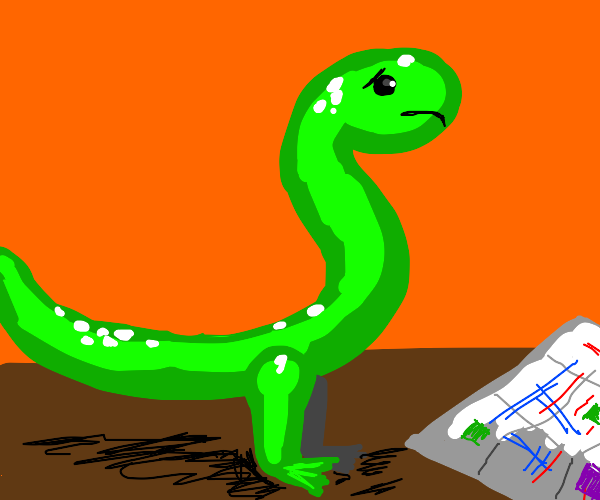 Snake with legs looking at a map