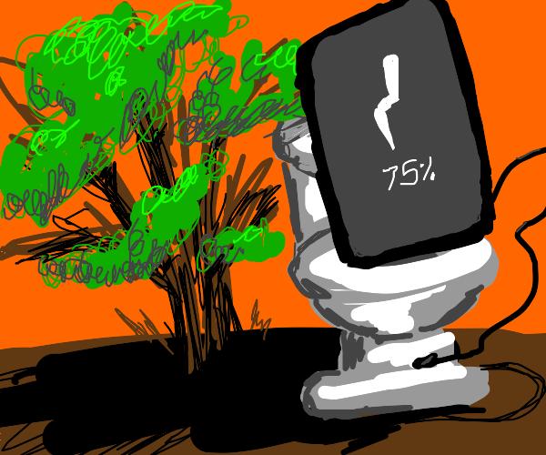 Phone using the bathroom behind bushes