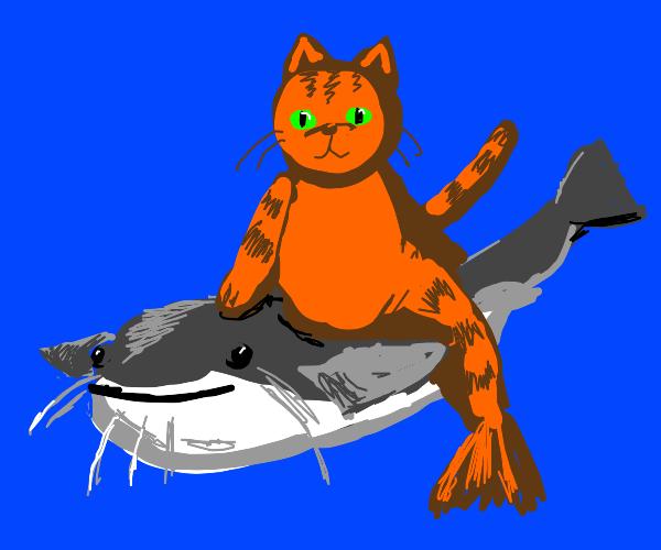 Catfish and a cat mermaid