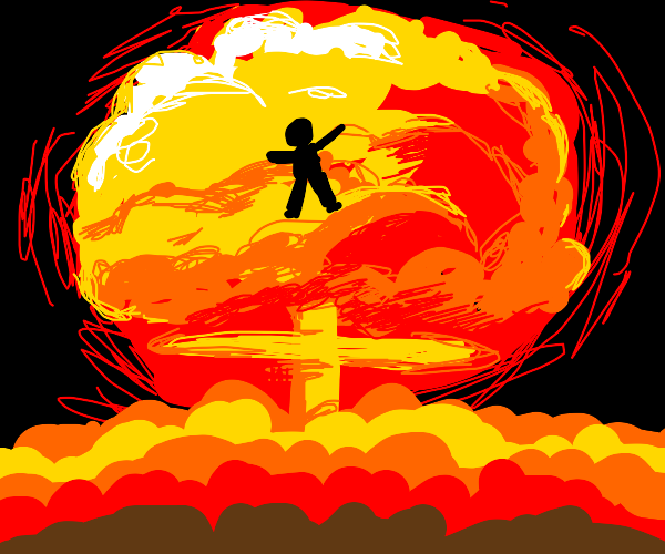 nuclear bomb goes off, incinerates a person