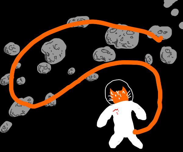 Cat with a long tail, floating in space