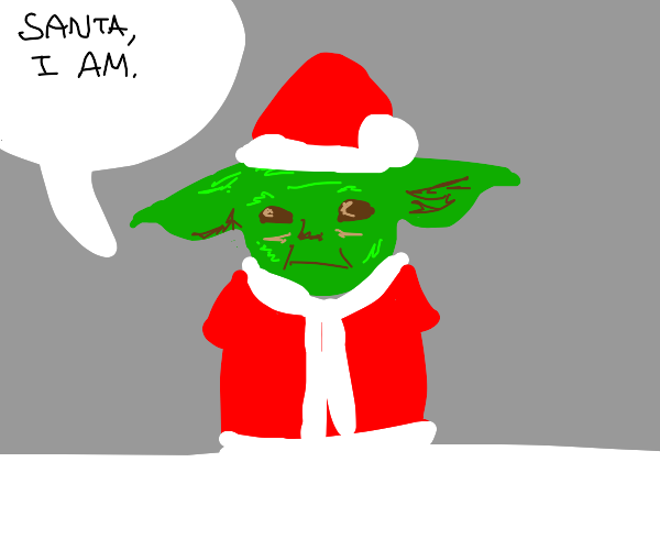 Yoda with Santa hat and suit