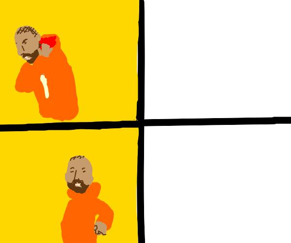 Drake meme format, but in Drawception