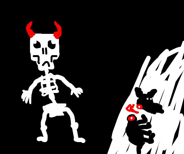 sad demon skeleton with.... bloody dying dog?
