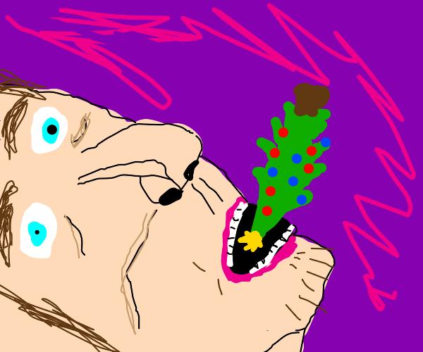 A man eating a christmas tree