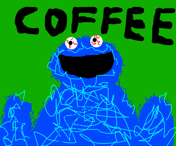 cookie monster waiting for cup of coffee