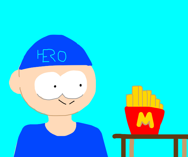 Blue hero finds his mcdonalbs fries