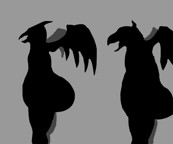 sillhoute of two thiccc dragons