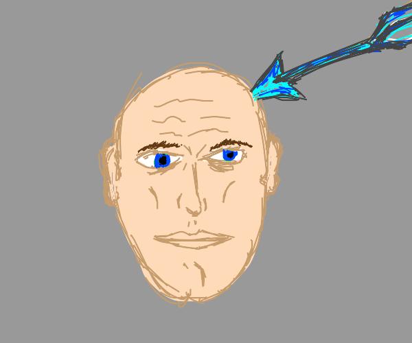 bald kid with a blue arrow on his head