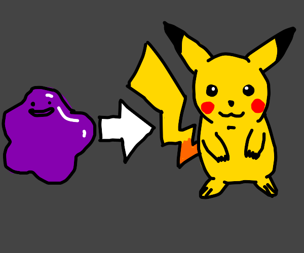 Ditto turns into Pikachu