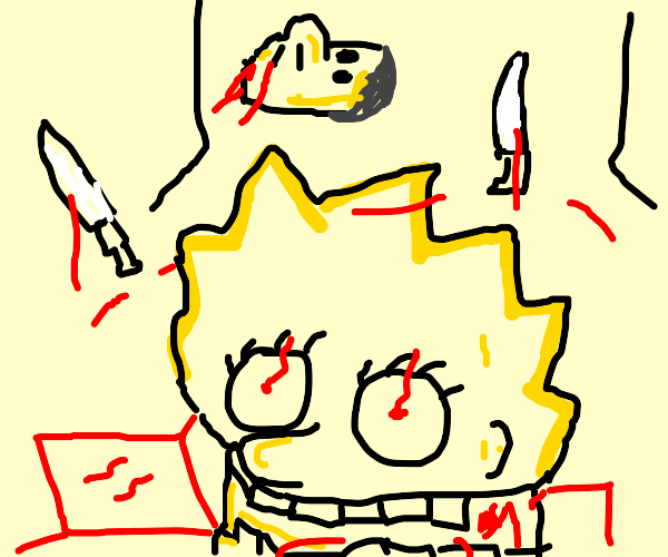 Lisa Simpson with knife