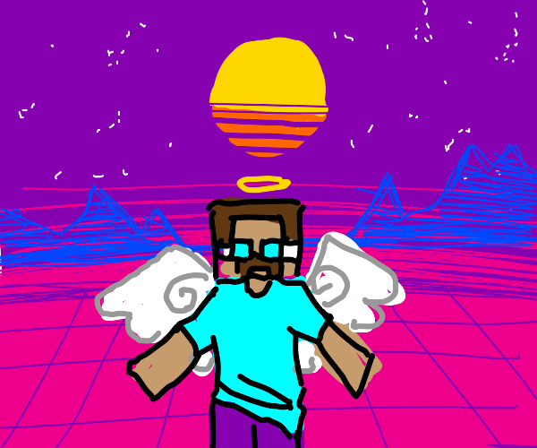 vaporwave minecraft angel steve